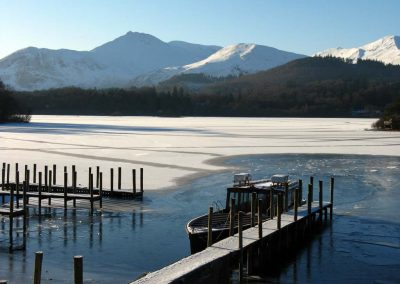 Causey Pike and a frozen Derwentwater